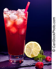 Red raspberry cocktail with lime on dark background 8 - Red...
