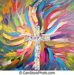 cross - A cross from colorful pluses and wings