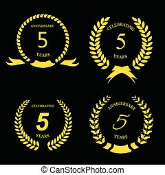 Five years anniversary golden label with ribbon, vector illustration