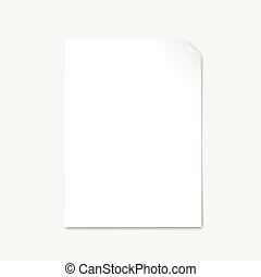 blank paper with page curl   vector on white