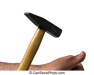 Man bangs with a hammer on his thumb