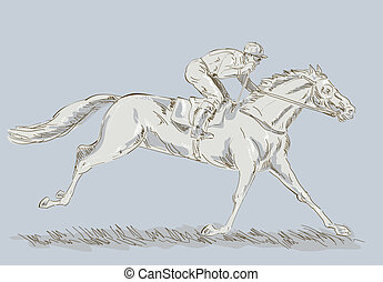 Horse and jockey in a race winning - Hand sketched and...