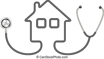 Stethoscope in shape of house in black design on white...
