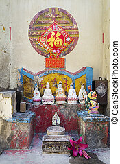 chinese shrine on street of taipa in macau - chinese shrine...