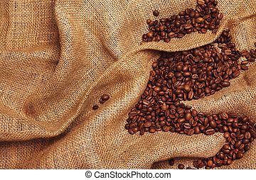 Coffee beans on sackcloth - Coffee beans and sackcloth...