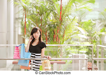 Holiday Shopping - Lady Airport Shopping on Holiday in Her...