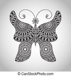Vector Doodle Buttrfly, tattoo sketch, all brushes included,...
