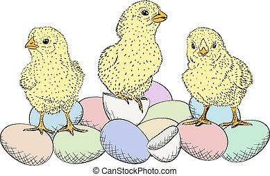 Easter eggs and chickens - Hand-drawn illustration of Easter...