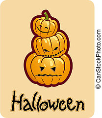 halloween\'s drawing - three pumpkin heads of jack-o-lantern...