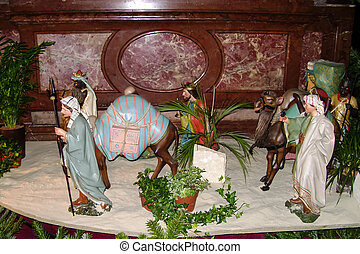 Christmas scene in church in Vienna, Austria