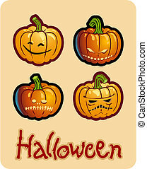 halloweens drawing - four scary pumpkin heads of...