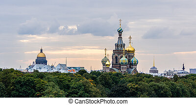 Sunset view on the city of Saint Petersbur, Russia. View on...