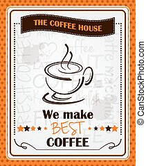 Vintage coffee menu poster design with cup of coffee and...