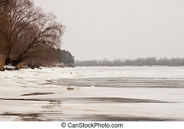 winter landscape in Ukraine over river Dnipro