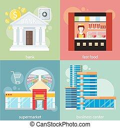 Business center, supermarket, bank, fast food