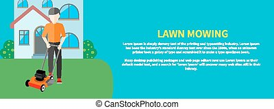Man moves with lawnmower