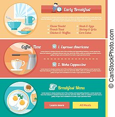 Breakfast time concept icons - Breakfast time Fried eggs...