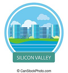 Office building in Silicon Valley - Silicon Valley sign...
