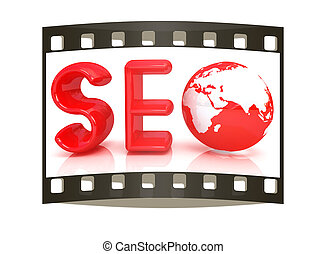 3d illustration of text SEO with earth globe, symbol The...