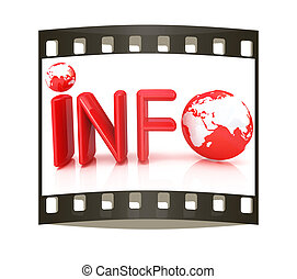 "3d text ""info"". The film strip - 3d text ""info"" on a white..."
