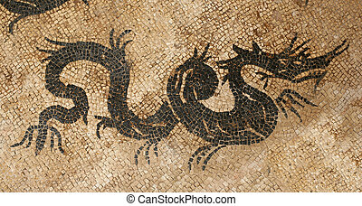 Dragon mosaic - Antique dragon mosaic in archeological site...