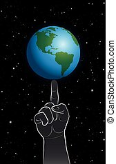 God Power Finger Planet Earth - A giant finger controls...