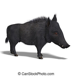 dangerous black boar is stiff-bristled - 3D rendering of a...