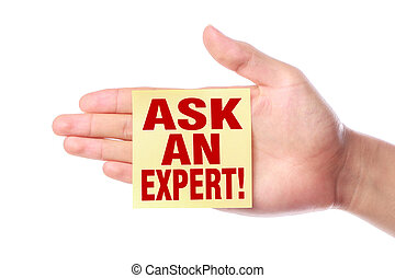 Ask an expert - Hand with Ask an expert sticky note is...