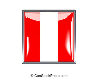 Square icon with flag of peru - Metal framed square icon...
