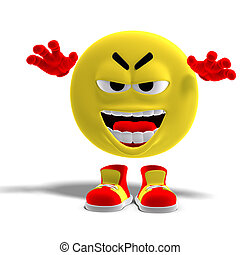 cool and funny emoticon scares someone - 3D rendering of a...