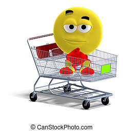 cool and funny emoticon sitting in a shopping cart - 3D...