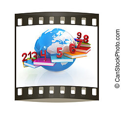 Global Education and numbers 1,2,3,4,5,6,7,8,9. The film strip