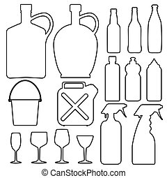 Bottle glass cup collection line