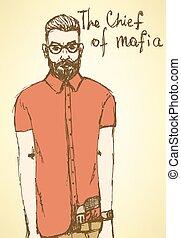 Sketch fancy mafia in vintage style, vector