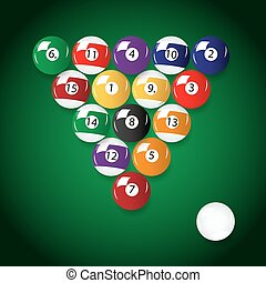 complete set of color billiards balls eps10