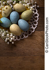 木制, 蛋, 復活節, 背景