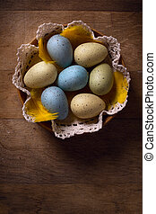 Wielkanoc, jaja, Na, Drewniany, background, ,