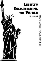 Statue of Liberty vector black isolated silhouette - Statue...