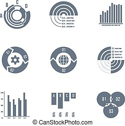 Vector diagrams, charts and graphs - Set of silhouettes of...