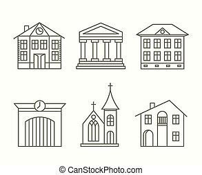 House building icons set in line style - Set of house...
