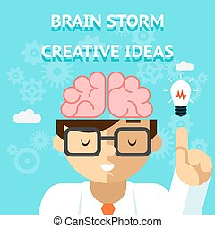 Brain storm creative idea concept. Business and bulb, think...