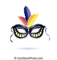 Vector colored carnival mask - Colorfull carnival mask with...