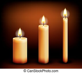 Realistic candles in different shapes Wax, and flame, fire...