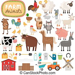 Vector farm animals - Set of vector farm animals and...