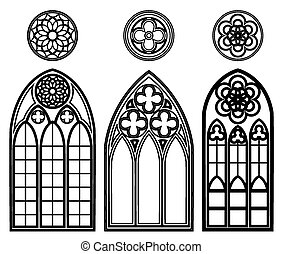 Gothic windows of cathedrals and castles with roses elements...