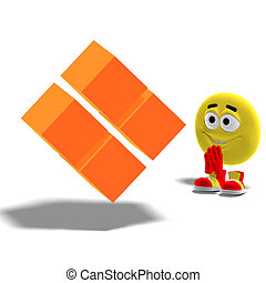 cool and funny emoticon is admiring a strange cube symbol