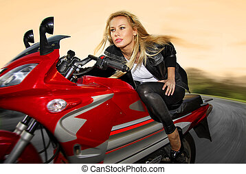 one blonde on a motorcycle - pretty blonde woman on a big...
