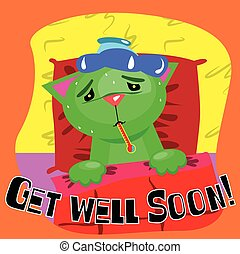 Get well soon card with cute sick cat