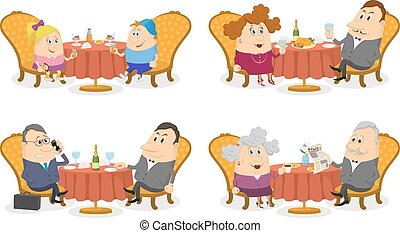 People at the Tables Set Isolated - Set of Cartoon...