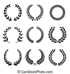 Vector Collection of Laurels, Floral Elements and Banners...